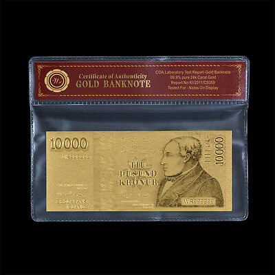 WR Iceland Gold Banknote 10,000 Kronur Gold Plated Banknotes /w COA Sleeve Frame