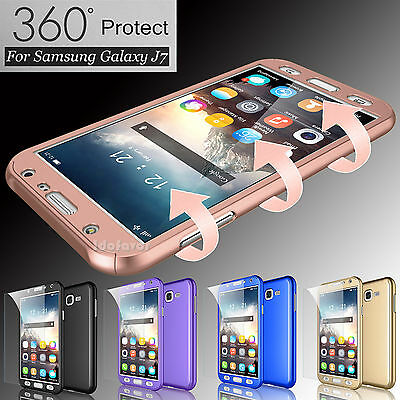 For Samsung Galaxy J7 2015 Hybrid 360° Full Protector Case Cover +Tempered Glass
