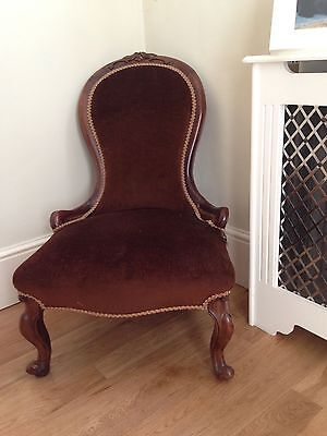 ANTIQUE Victorian mahogany 'spoonback' nursing/bedroom chair