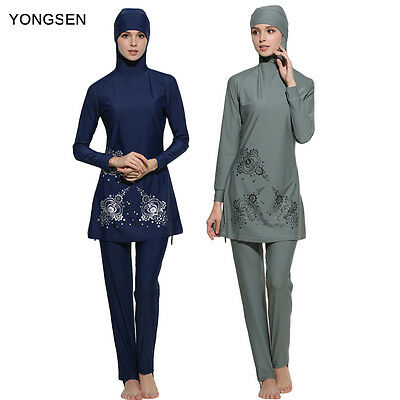 2017 Modesty Muslim Women Swimwear Swimsuit Full Cover Islamic Beachwear Burkini