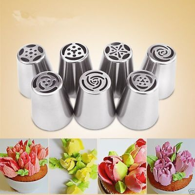 7pcs Big Flower Stainless Steel Icing Piping Nozzles Cake Baking Tool UK