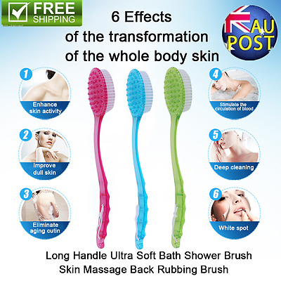 Long Handled Body Bath Shower Back Brush Scrubber Massager Skin Cleaning Eyeful