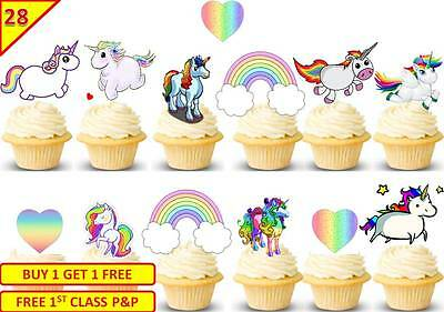 56 UNICORN RAINBOW HEARTS Cup Cake Wafer Toppers Decorations Birthday Edible