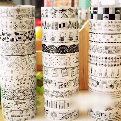 10 stk/Set Washi Masking Tape Klebeband Klebebänder DIY Papier Decor Stickers