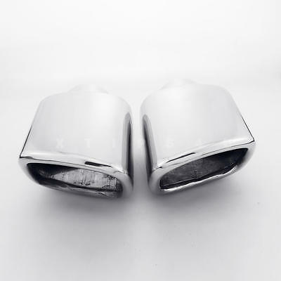 """Pair 2.25"""" inlet 4""""x3.15"""" Square Out Slanted Stainless Steel Exhaust Tips"""