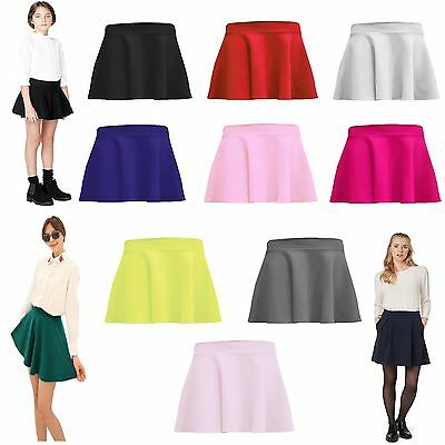 Kids Skater Skirt Box Pleated Plain Elasticated Waist School Uniform Girls