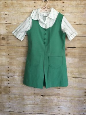Vintage 1970s Girl Scout Juniors Uniform: jumper and blouse size 8 and 12