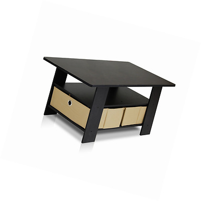 Furinno Coffee Table with Bin Drawer EspressoBrown 11158EXBR