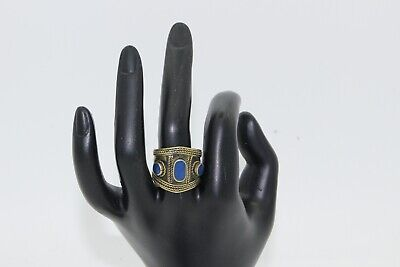 Afghan Vintage Adjustable Ring Band with Stones Authentic Ethnic Tribal