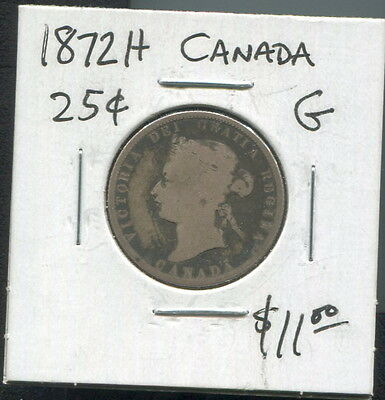 Canada - Great Historical Qv Silver 25 Cents, 1872 H