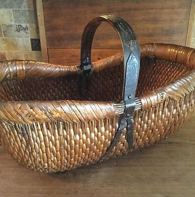 Chinese Country Style Vegetable Market Basket Antique Chinese Willow Basket