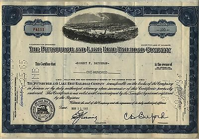 Pittsburgh & Lake Erie Railroad Company Stock Certificate Pennsylvania Blue