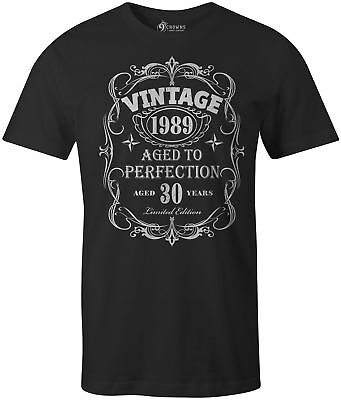 9 Crowns Mens Vintage Aged to Perfection 30th, 40th, 50th, 60th Birthday T-Shirt