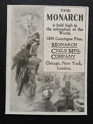 Antique 1898 Print Ad (D4)~Monarch Cycle Mfg. Co.