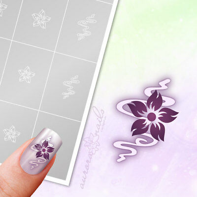 Airbrush + Nailart Stencils FS017 Ornament floral flowers 40x Adhesive
