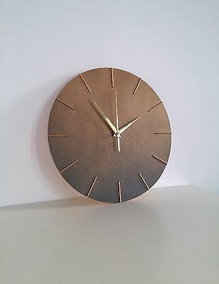Modern Wall Clock, Golden Blue Color, Handmade Wooden Clock, Modern Design