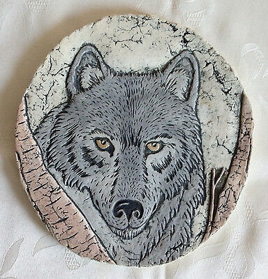 "WOLF Volcanic Ash Wall Plaque /Plate /Decoration, Hand Painted, ""Shapes of Clay"""
