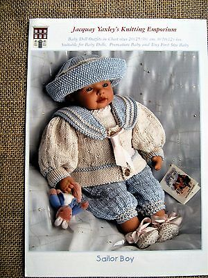 BABY DOLL OUTFITS KNITTING PATTERN- 'sailor boy' BY JACQUAY YAXLEY