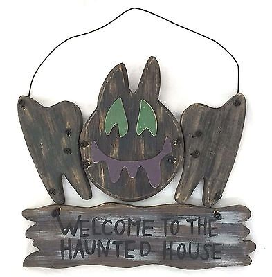"""Halloween Wood Bat Sign """"Welcome To The Haunted House"""" 10-1/2"""" L x 9-1/2"""" H"""