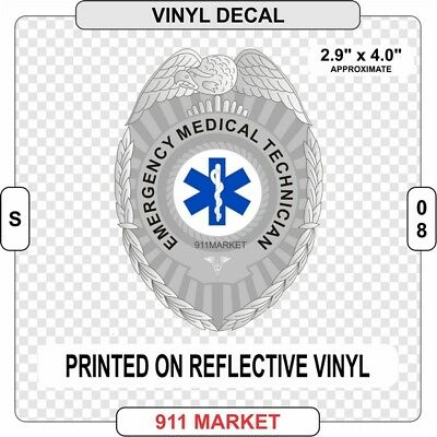 EMT Badge Decal Sticker SOL Emergency Medical Tech Service EMS Paramedic -  S 08
