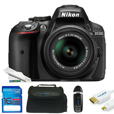 Nikon D5300 DSLR Camera with 18-55mm Lens (Black) + Expo-Starter Kit