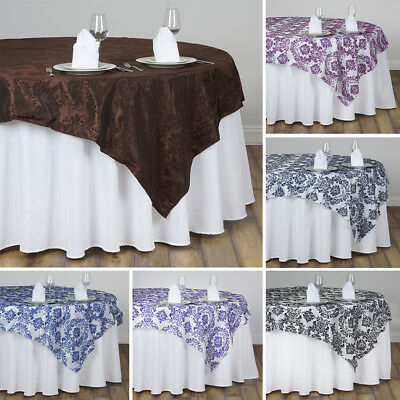 """1 Dozen FLOCKING 12 TABLE OVERLAYS 90x90"""" Wedding Party Catering Linens Supplies"""