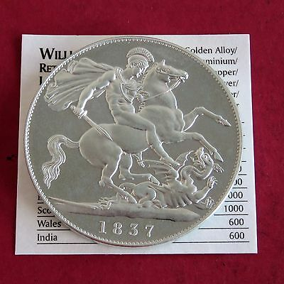 William Iiii 1837 Silver Proof Pattern George And Dragon Crown
