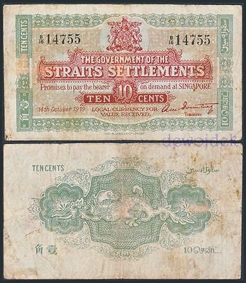 The Government of Straits Settlements (Singapore) 10 Cents 1919 # RARE # VG+