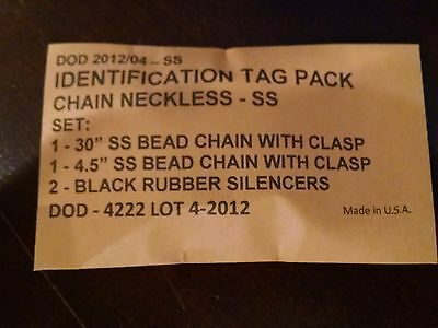 dog tag replacement chains and silencers for military style I.D. tags new in bag