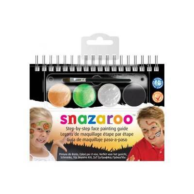 Snazaroo HALLOWEEN 2-Step Kids FACE PAINTING Kit Paints,Brush,Guide Party