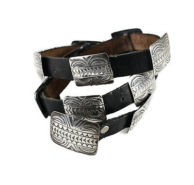 Ladies Sterling Silver Navaho Concho Belt stamped designs 11+ buckle Size Small