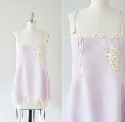 Vintage 1920s Pale Lilac Rayon Flapper Step-in Chemise - Crepe Revelle label