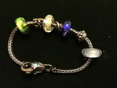 "TROLLBEADS Sterling Silver 925 Charm Bracelet With 7 Charms 7.5""-- 26.94g"
