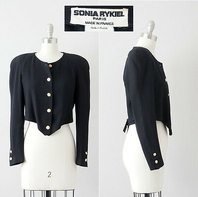 Vintage Sonia Rykiel Black Cropped Jacket with Gold Military Style Buttons 1980s