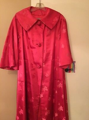 Vintage Red 1960's Satin Evening Coat Size Small