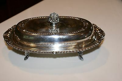 Vintage Silverplate Covered Butter Dish Ornate BOTTOM HAS 4 LEGS NO LINER