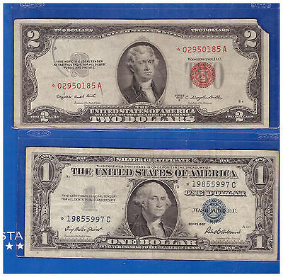 1-1953 Star 2 Dollar Red Seal And 1-1957 $1 Star Silver Certificate Lh986