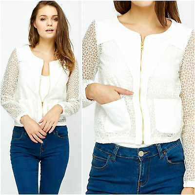 Womens White Floral Mesh Sleeve Laced Bomber Zipped Crew Neck Collarless Jacket