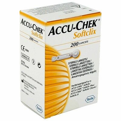 Accuchek Softclix Lancets 200 Least Painful,Smooth Entry,For Blood Glucose Level