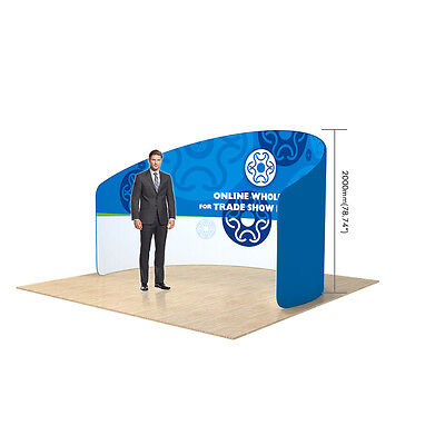 NEW 10ft C Shape Back Wall Fabric Tension Trade show Display with Custom Graphic