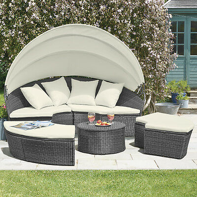 Rattan Outdoor Garden Patio Day Bed Furniture Lounger Sofa Table & Canopy Set