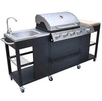 Barbecue Outdoor Cooking Gas Barbeque Grill BBQ Garden Large Storage Unit Burner