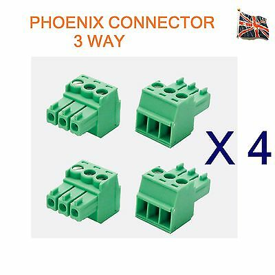4 Lots of 3 Pin Phoenix Combicon MC Connector Professional Audio 3 Way UK Stock