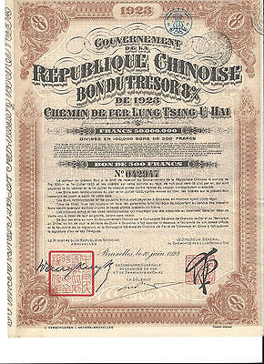 Government Chinese Republic - Lung-Tsing-U-Haî - Railway 1923.