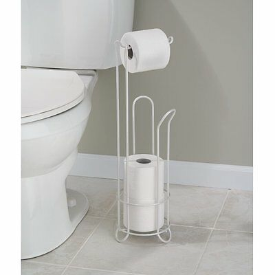 Classico Bathroom Free Standing Toilet Tissue Roll Stand Plus, Pearl White