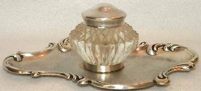 c1910 Art Nouveau Sterling Silver Inkwell Holder Tray w/ Glass Crystal Inkwell.