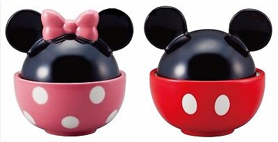 ❦ Gift Disney Minnie Mouse & Mickey Mouse Rice Bowl Set Japan F/S NEW ❦
