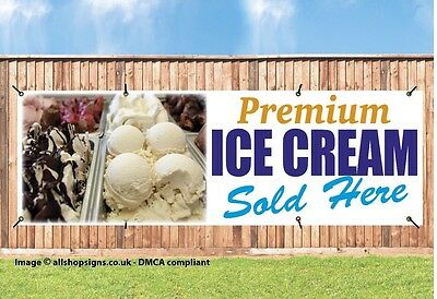ICE CREAM ICE LOLLIES BANNER WATERPROOF OUTDOOR SIGN PVC Brass Eyelets IC007