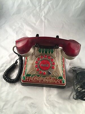 Coca Cola Lighted Stained Glass Looking Rotary Push Button Telephone Phone 2001