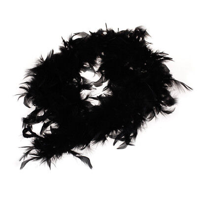Black Feather Boa Fluffy Costume Dressup Wedding Party Decor 6.6Ft Long
